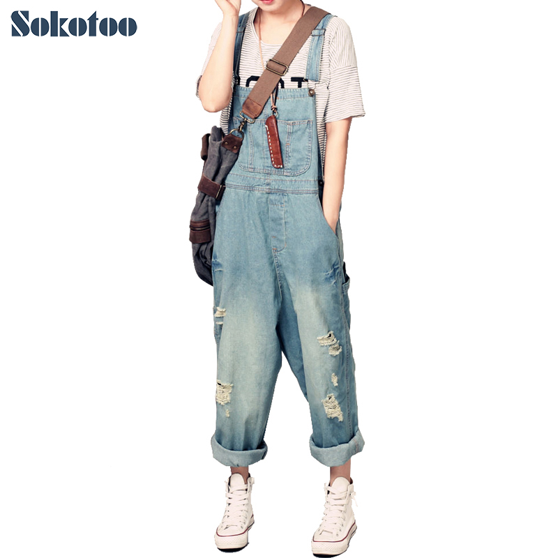 Sokotoo Women's casual loose denim overalls Lady's hole ripped baggy jeans Wide leg pants for woman vintage women jeans calca feminina 2017 fashion new denim jeans tie dye washed loose zipper fly women jeans wide leg pants woman