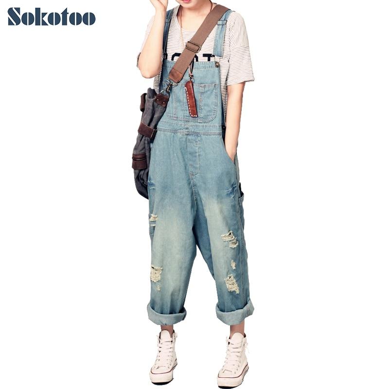Sokotoo casuali delle Donne salopette di jeans allentati della signora foro strappato jeans larghi pantaloni Larghi del piedino per la donna
