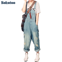 Women S Casual Loose Denim Overalls Lady S Hole Ripped Jeans Wide Leg Pants For Woman