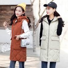 Brieuces solid Turn-down Collar ln the long zipper loose new A-hem autumn winter vest women fashion keep warm wist coat