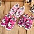 1-3Y nueva 2015 niños zapatillas de lona chicas de Hello Kitty Cat los zapatos corrientes del deporte suave lindo de los niños causales de la lona