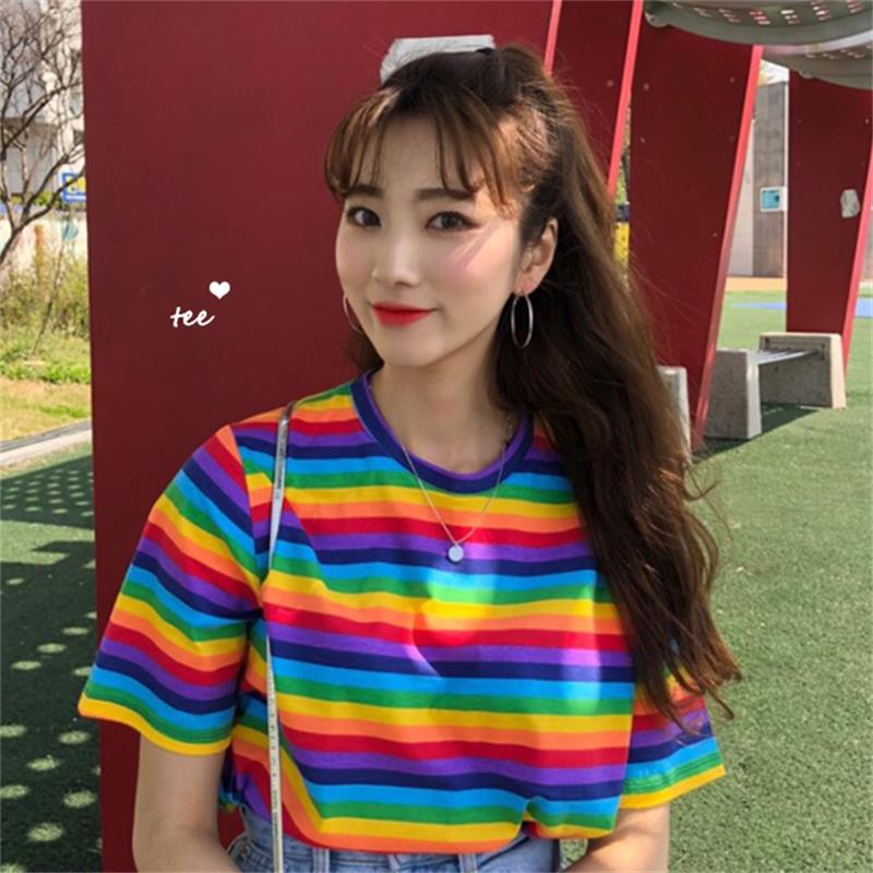 2020 Female Korean Harajuku Casual Loose Rainbow Striped T Shirt Women's T-shirts Tops Japanese Kawaii Ladies Clothes For Women