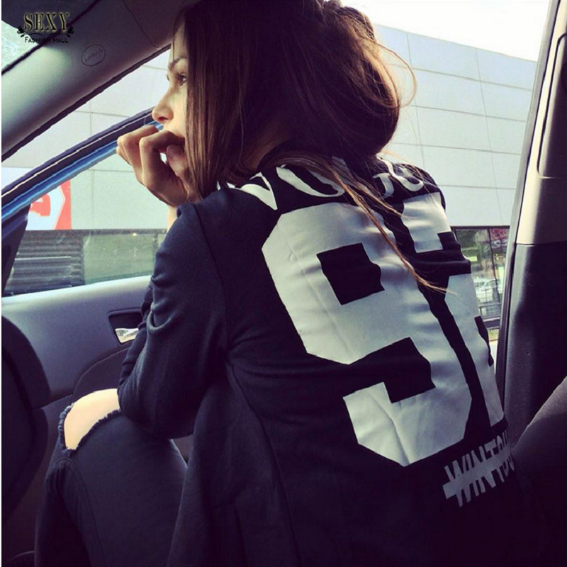 Basic     Jackets   2016 Fashion Long Sleeve Letter   Jacket   Print VOUGE 92 Bomber   Jacket   Women Casul Coats Feminino chaquetas mujer 010