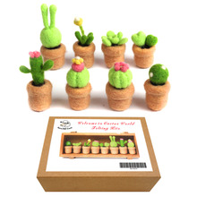 Feltsky Succulent Needle Felting Kits with 3 Needles, English Tutorial, 1 Pair Leather Guard, High-density Base Gift Box