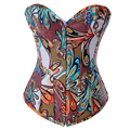 Corsets And Bustiers tops Floral Print Women Corset Waist Trainer Corsets Steampunk Clothing Brocade Overbust Corset Pattern XXL