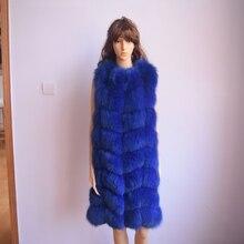 90CM Natural Real Fox Fur Vest New 2017 Winter Long Thick Women Genuine Fur Vest Jacket Pockets Real Fur Vest Coats for Women