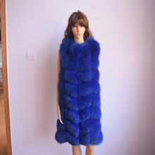 Real Fur Vest Time limited O neck 90cm Natural Real Fox New 2017 Winter Long Thick
