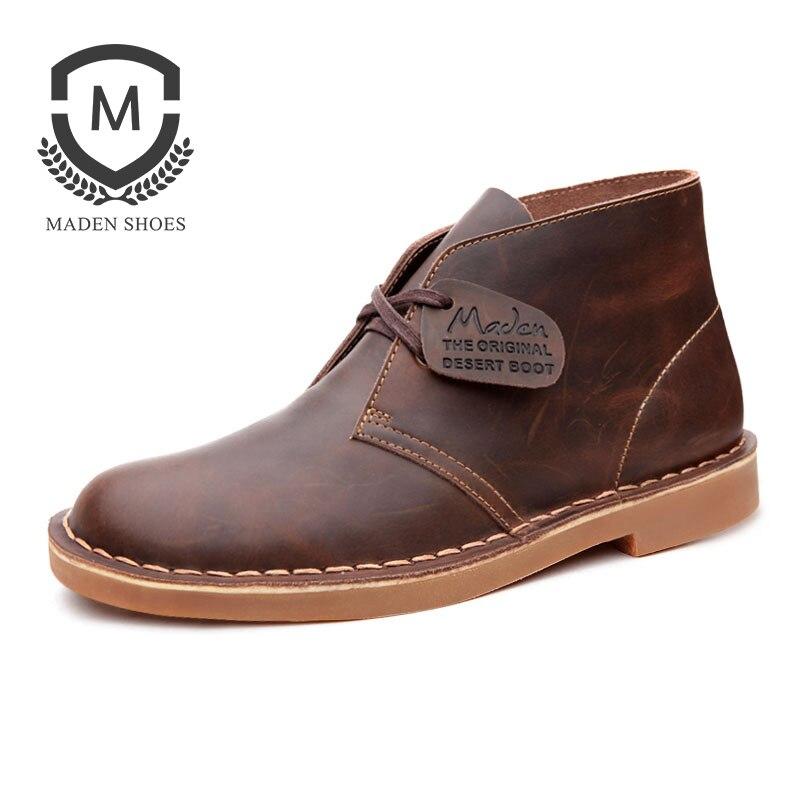 Маден Для мужчин ботинки martin дезерты обувь высокого верха все сопоставления Разделение кожа британский стиль Винтаж Удобный круглый носок,...