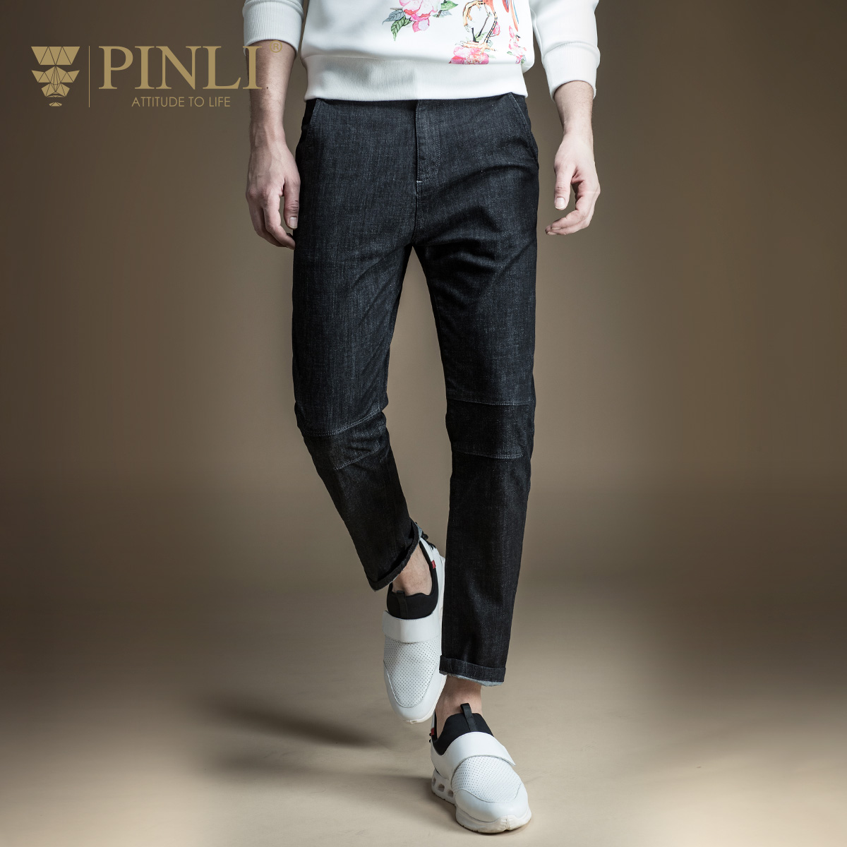 Pinli New Arrival Acetate Zipper Fly Midweight Pencil Pants Mid 2017 Spring New Slim Jeans Pants