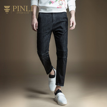 Pinli New Arrival Acetate Zipper Fly Midweight Pencil Pants Mid 2017 Spring New Slim Jeans Pants Feet Male Boom D171316006