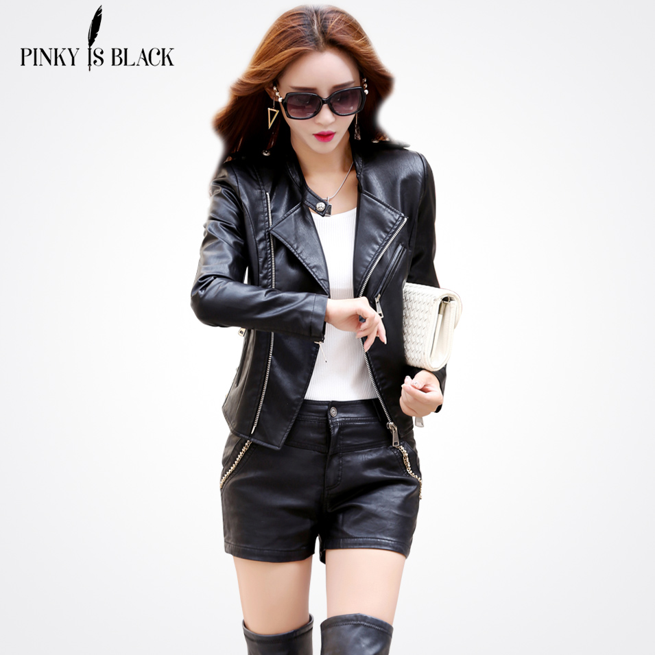 Pinky Is Black 2017 New Autumn Leather Jacket Women Long Sleeve Solid Color Locomotive Jacket Cool Stand Collar Leather Coat