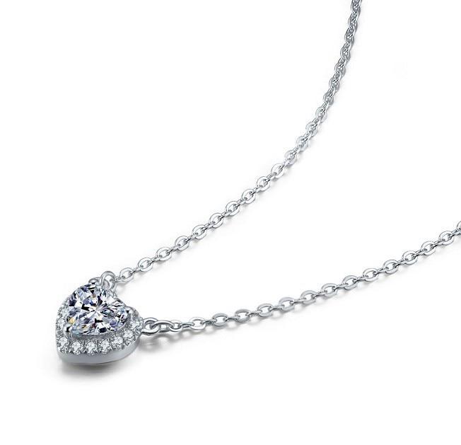 新しい到着ハートシェイプ2カラットリアルsona合成ダイヤモンド婚約ペンダントネックレス最高の結婚記念日のための彼女  グループ上の ジュエリー & アクセサリー からの ペンダント の中 2