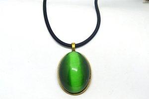 Винтаж Овальный зеленый камень кошачий глаз кулон из бечёвки Цепочки и ожерелья украшения подарок натуральный камень