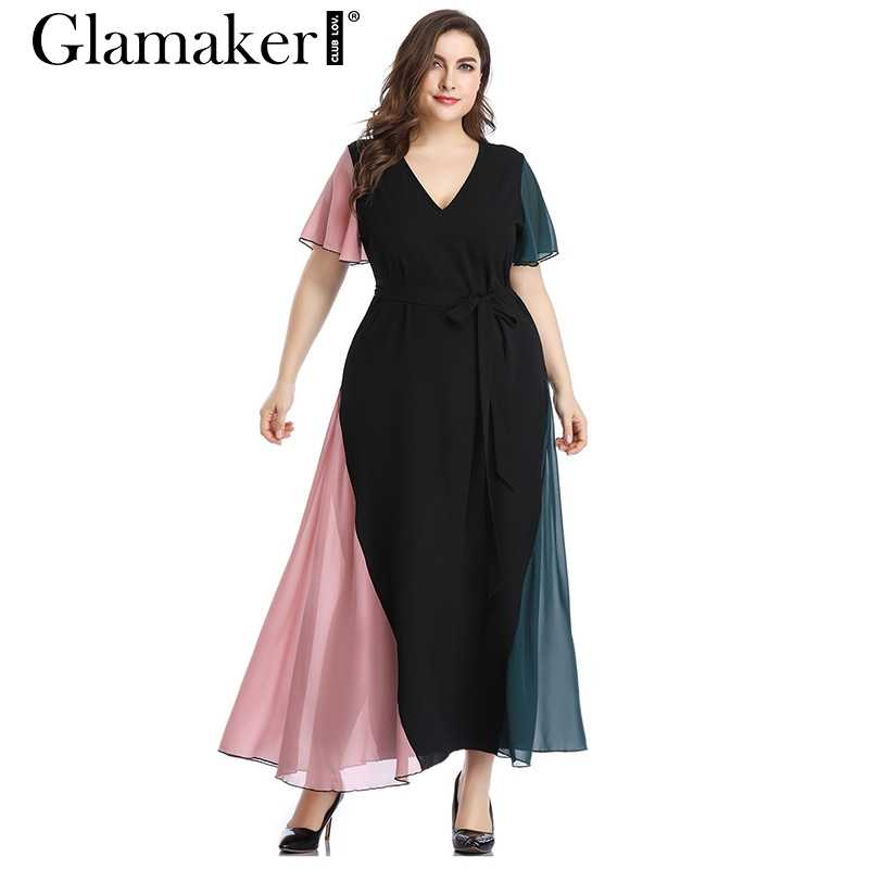 7613ae54492 Glamaker Elegant black deep v neck casual dress for Women sexy large size  beach dress 5XL