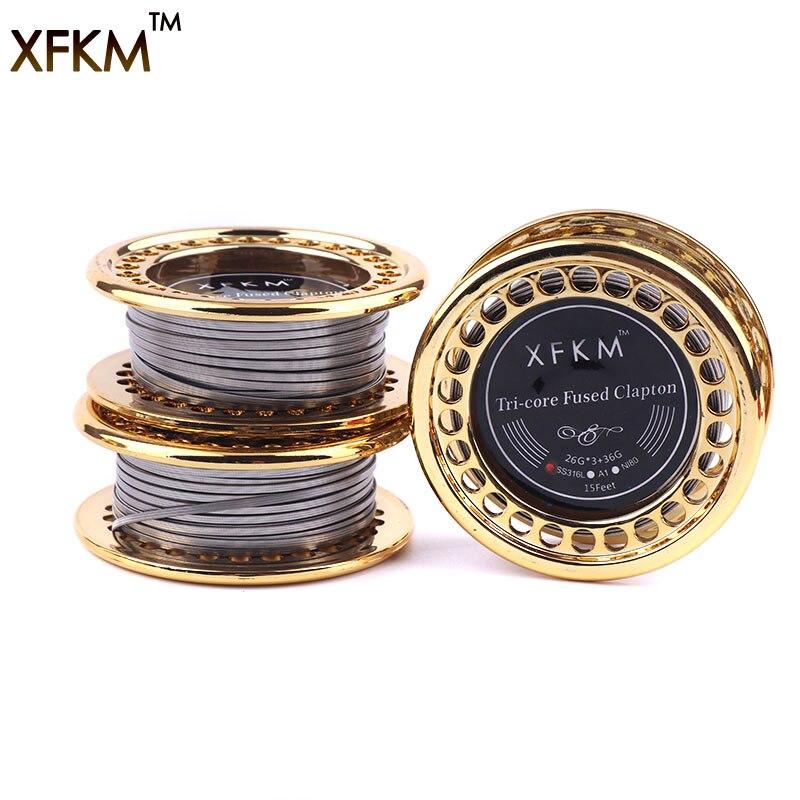XFKM 5 mt/rolle 26G * 3 + 36GA Clapton Draht elektronische zigarette rda Heizwendel widerstandsdraht für RDA RBA RTA DIY Zerstäuber spulen