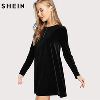 SHEIN Dress Women Solid Black Clothing For Women Shift Autumn Dress Casual Long Sleeve Round Neck
