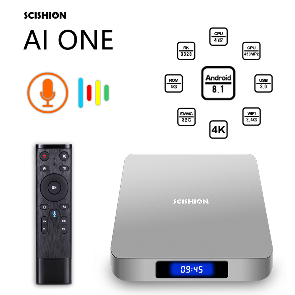 SCISHION TV Box android 8.1 4 k 2G 4G 16G 32G WiFi BT4.0 Android Media Player Display screen Voice Control PK Z28 X96mini TV box shinsklly z28 android tv box rockchip rk3328 ram1g 2g rom 8g 16g android 7 1 tv box 4k wifi media player set top boxes pk mi box