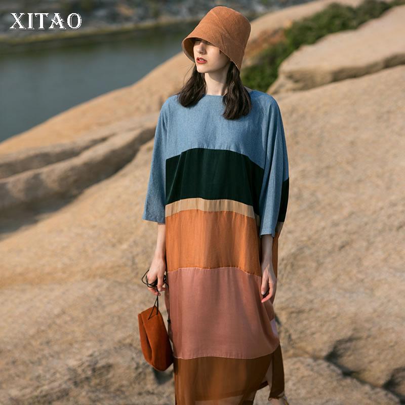 [XITAO] Summer 2018 New Korea Casual Women Patchwork Loose Ankle Length Dress Female Three Quarter Sleeve O Neck Dress KZH1442