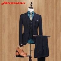 Brand Serge Slim Fit Men Suits Black Wedding Suits For Best Men vestidos de fiesta Smart Casual Mens Tuxedos (jacket+Vest+Pant)