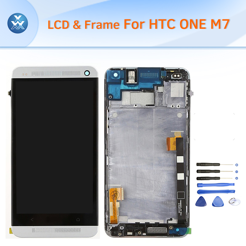 LCD for HTC One M7 LCD display touch screen digitizer assembly frame black gold silver red blue 4.7 screen free tools high quality silver for htc one m7 lcd display touch digitizer screen frame back door battery cover case housing