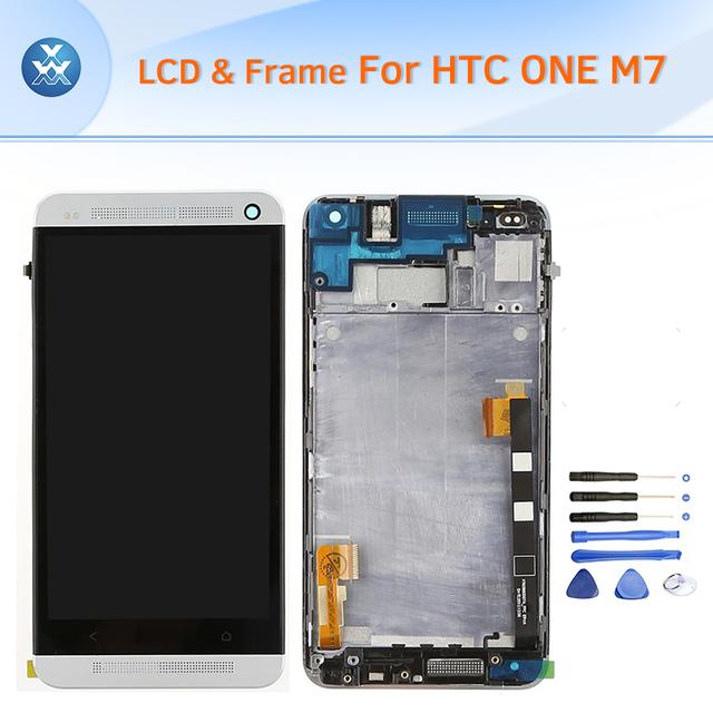 """Lcd para htc one m7 display lcd touch screen digitador assembléia quadro preto ouro prata vermelho azul 4.7 """"tela ferramentas gratuitas"""