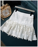 2019 Summer New Arrival Fashion All Matching White Mini Woman Skirts Silk Hollow Out Patchwork Embroidery Pattern Cute MiniSkirt