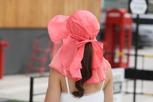 Image 5 - 太陽の帽子フェイスネック女性ソンブレロmujer veranoにワイドつば夏バイザーキャップ抗uv chapeu feminino屋外