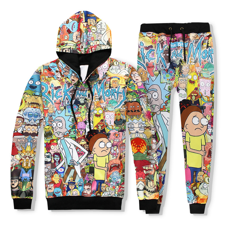 2019 Fashion Hoodies Hooded+Pants Sweatshirt 2 Piece Set Men Casual Tracksuits 3D Print Rick And Morty Track Suit S-XXL