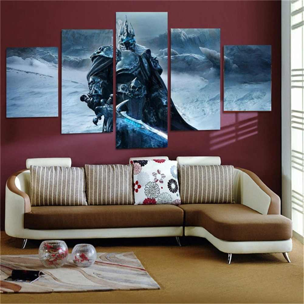 5 Panels Waterproof Canvas Painting World of Warcraft HD Print Wall Hanging Art Oil Prints Pictures Modular Poster
