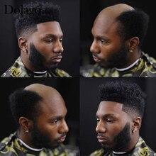 """Афро парик 6 мм прочная тонкая кожа накладка из искусственных волос для мужчин 8X1"""" V петля/узел инъекционные волосы Repace для мужчин t протезизация волос Dolago шелковая основа волос"""