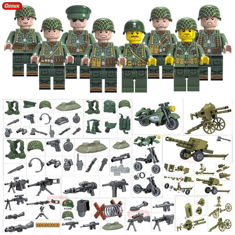 Oenux New Arrival WW2 The Battle Of Normandy Military Building Block USA Army Soldiers Figure With Weapons Model DIY Brick Toy sluban 0267 new romance of the three kingdoms battle of jingzhou building block set 3d construction brick gift toys diy