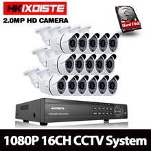 HKIXDISTE 16CH 1080P AHD DVR CCTV Kit de sistema 16CH AHD DVR + IR 40M al aire libre seguridad de la bala de la 2MP AHD Cámara Kit de sistema