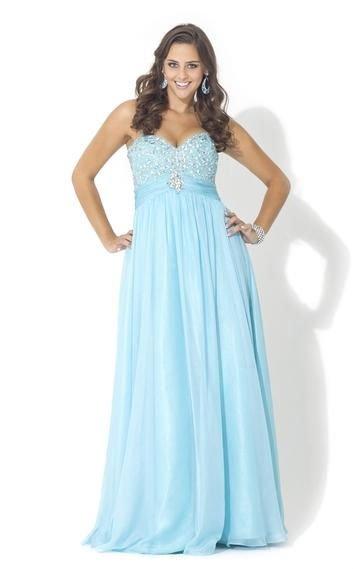 Beautiful beaded bust sweetheart light blue plus size prom dresses ...