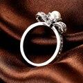 Аутентичные Стерлингового Серебра 925 Кольца Шарм Перл Bowknot Обручальное Кольцо Fit Пандора Женщины Свадебные Ювелирные Изделия Кольца R32