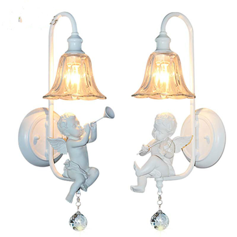 Lovely angel Crystal wall lamps Angel trumpet or angel playing the violin Resin glass wall lights E14*1 LED stairs aisle lamp rock angel pубашка