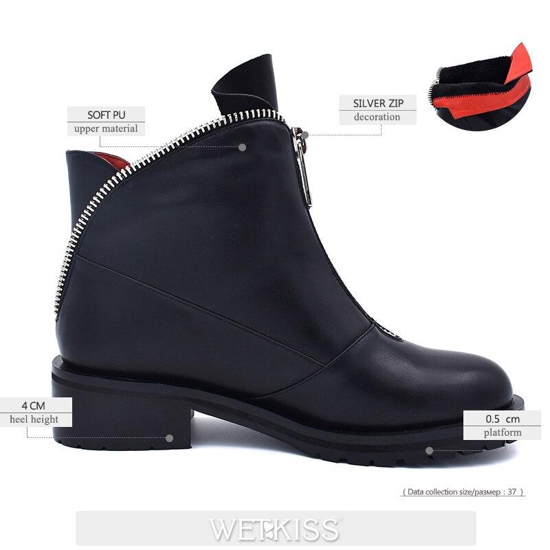 WETKISS Winter Women Ankle Boots Pu Round Toe Zip Footwear Platform Female Rubber Boot Med Thick Heels Shoes Women 2018 Black