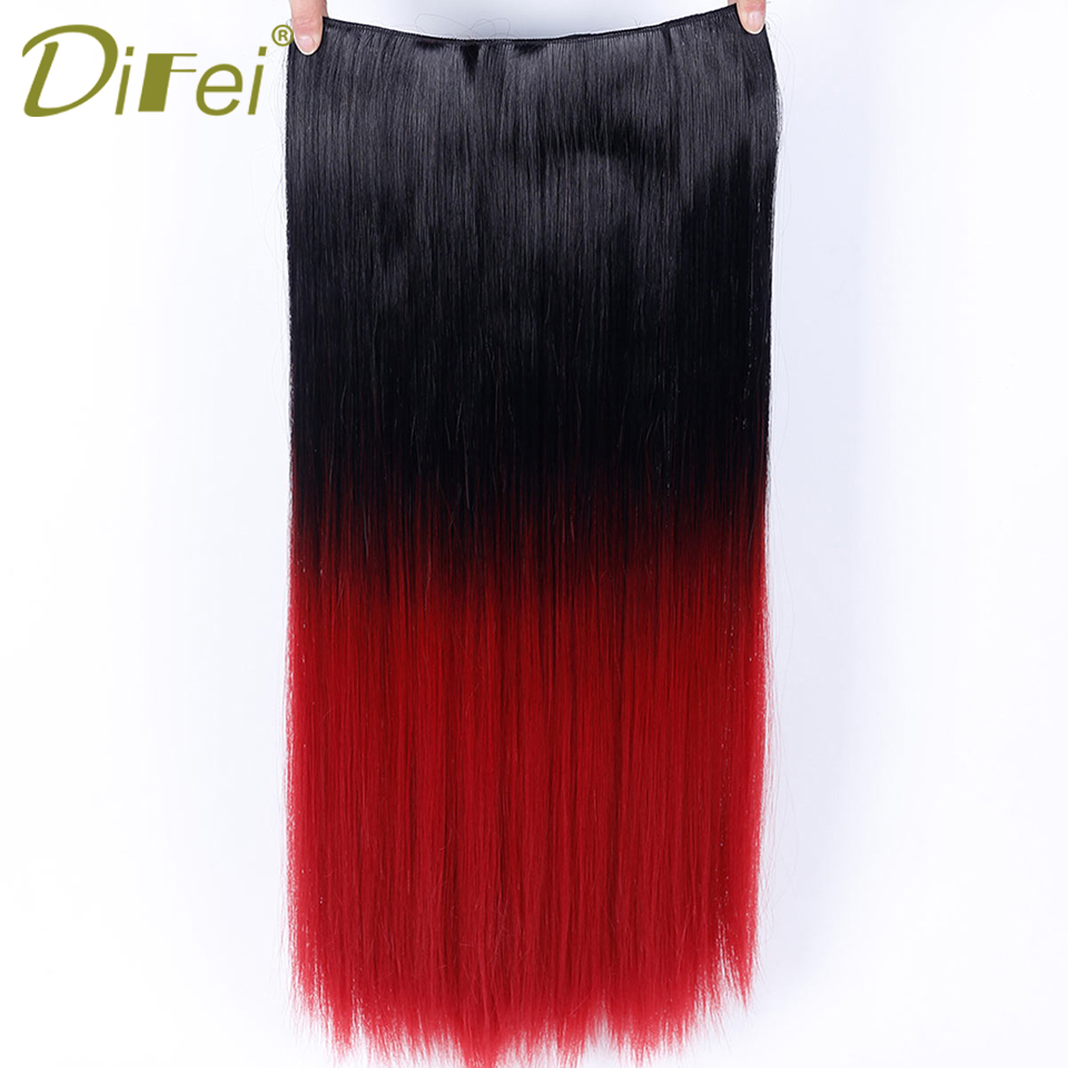DIFEI Synthetic 5 Clip In Long Straight Hair Extensions Ombre Heat Resistant Hair Extens ...