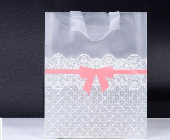 38x43cm Large Clear Plastic Gift Bag Favor Jewelry Boutique Gift Packaging Plastic Shopping Bags With Handle Garment Bag