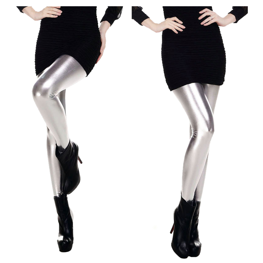 New New Fashion Women   Leggings   Shiny Metallic Color Elastic Waist Skinny Sexy Pencil Pants Trousers Casual Pencil Trousers Red