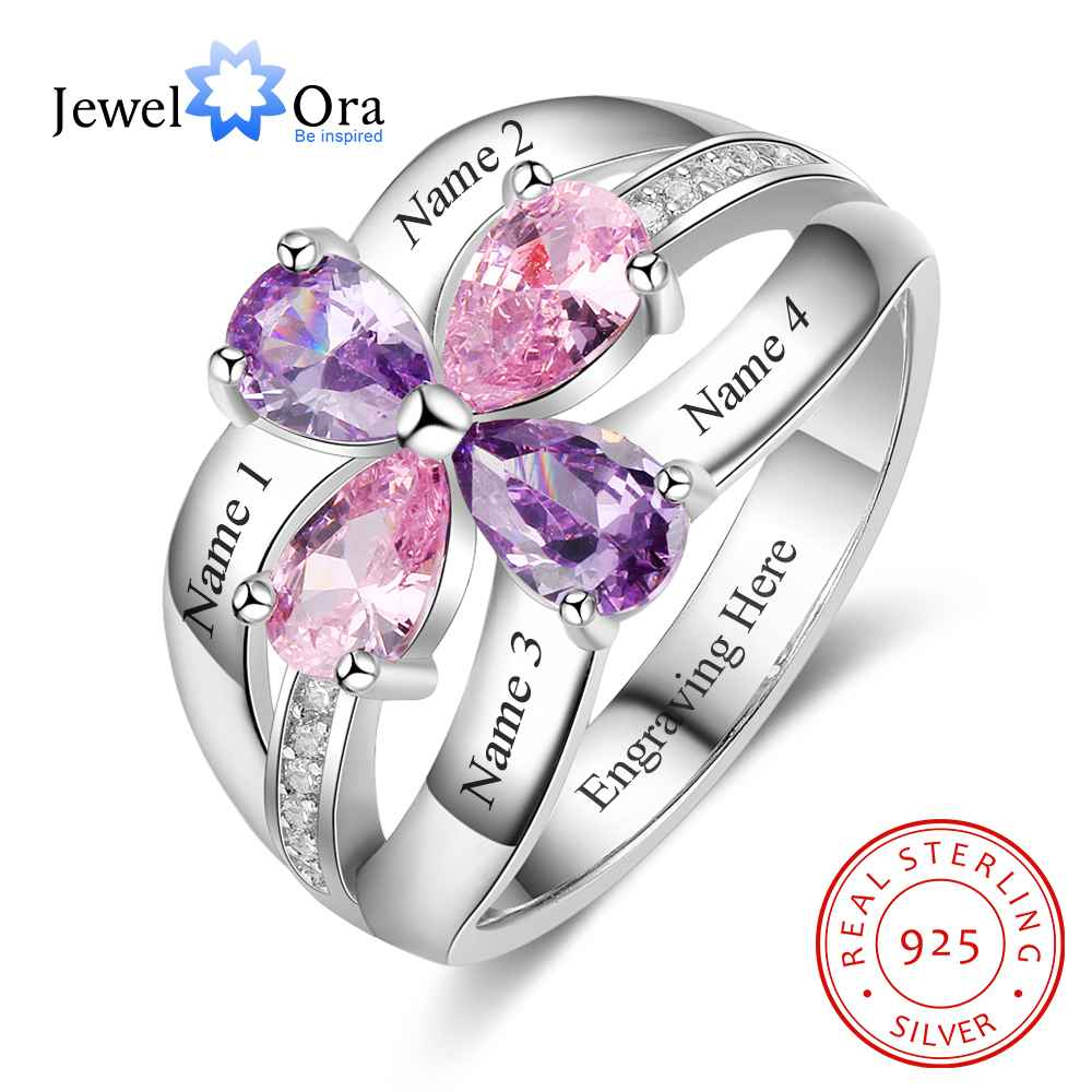 Personalized Gift for Sister Engrave 4 Friends Name 4 Birthstone Promise Rings 925 Sterling Silver Jewelry (JewelOra RI103285)Personalized Gift for Sister Engrave 4 Friends Name 4 Birthstone Promise Rings 925 Sterling Silver Jewelry (JewelOra RI103285)