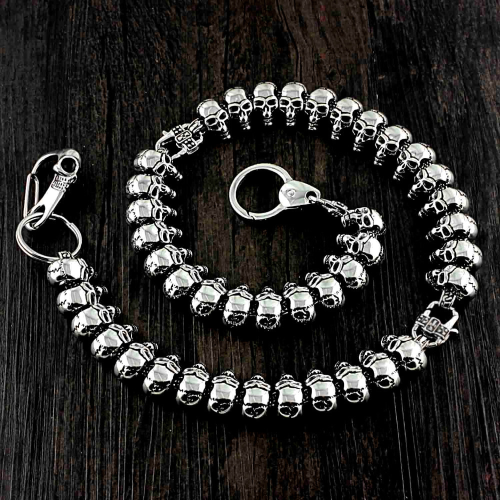 Heavy Metal Biker Stainless Steel Skull Wallet Chain Pants Keychain
