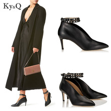 New Women Ankle Strap Buckle Pumps Studs Pointed Toe Shoes Sexy Bottle Green Handmade Real Leather Woman Wedding Party High Heel