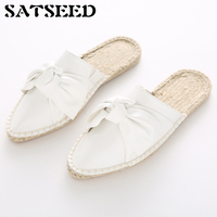 Europe And United States 2017 Girln Spring Butterfly Knot Muller Shoes Bow Lazy Flat Handmade Straw Linen Rope Soled Slippers