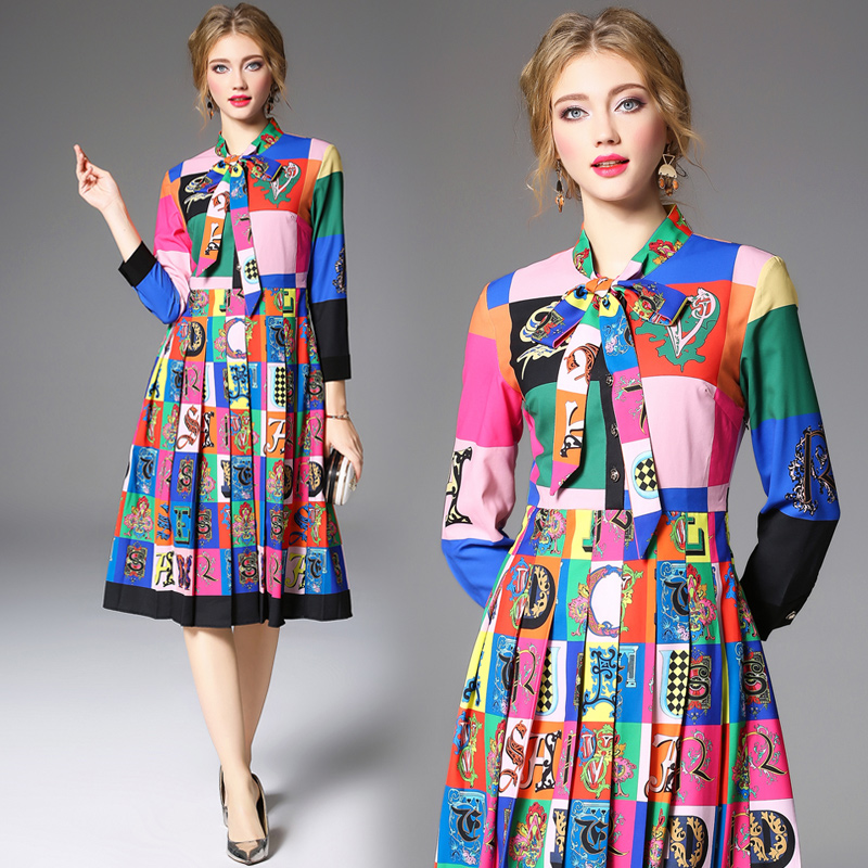 Plaid Printed Single Breasted Ball Gown Spring Dresses Tie Bow Full Sleeves Vintage Style Wholesale Price Dress For Mother Mom