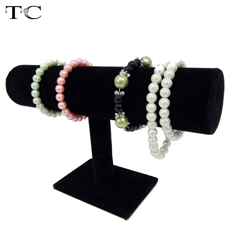 Black Velvet/Leather T Bar Rack Organizer Hard Stand Holder For Bracelet Chain Necklace Watch Fashion Jewelry Displa