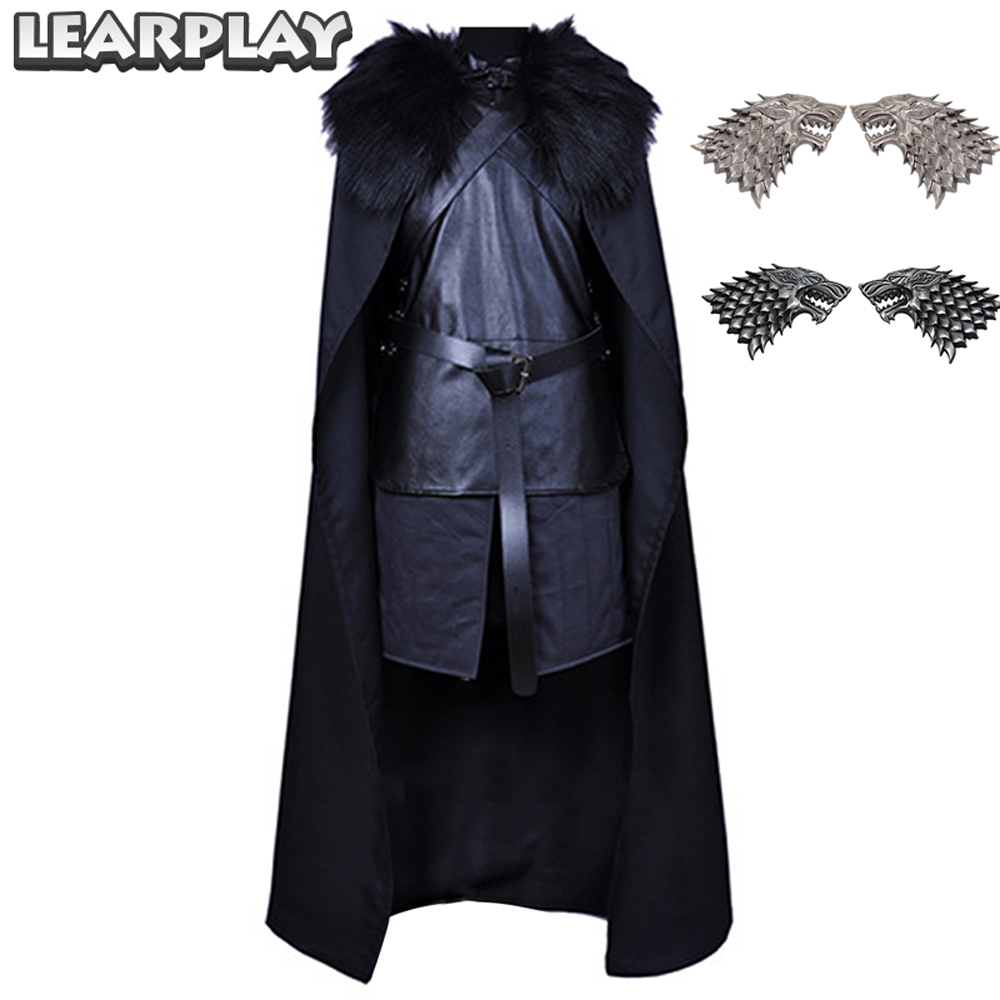 Game Of Thrones Jon Snow Nuits Montre Cosplay Costume Chanson de Ice et Feu Chevalier Vêtements Noir de Gilet Costume Hommes costumes