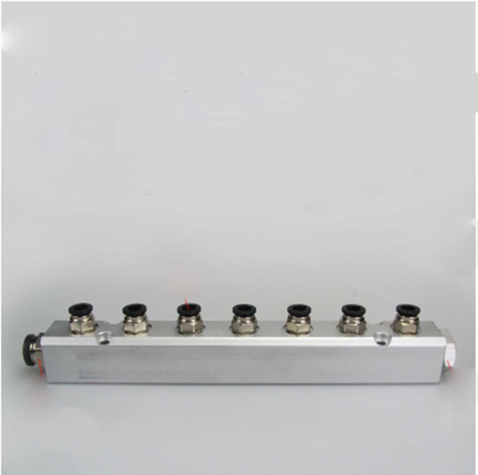 30x30mm G1/4 Out G1/2 In 7 Way Pneumatic Fitting Air Manifold Block Splitter цена