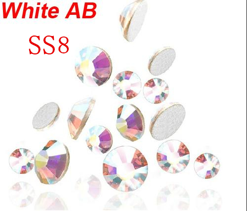 Super Shiny 1440PCS SS8 2.3-2.4mm Clear AB Glitter Non Hotfix Crystal AB Color 3D Nail Art Decorations Flatback Rhinestones 8ss super shiny ss3 ss40 clear crystal ab 3d non hotfix flatback nail art decorations flatback rhinestones gold foiled stones