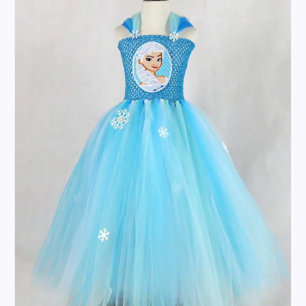 Princess Anna Elsa Girl Dress Elegant Girls Costume Tutu Dresses with Snowflake Baby Girl Clothing For Cosplay Party