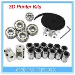 Impressora 3d reprap i3 movimento kit gt2 polia da correia 608zz rolamento lm8uu 624zz & 5*5 ou 5*8 acoplador eixo vv000059